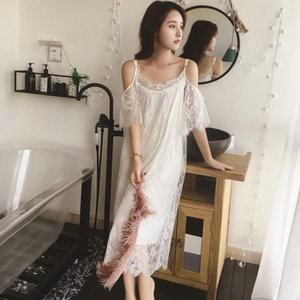 Elegante Longa Seção Lisacmvpnel Mulheres Camisola Spaghetti Strap Sólidos Lace Feminino Nightdress JCSH #