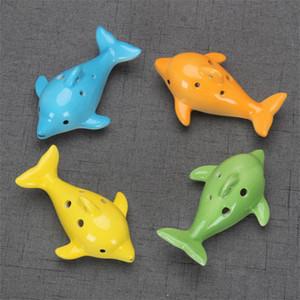 Mignon 6 trous Céramique Dolphin Ocarina jouet éducatif instrument de musique en forme d'animal Musique éducative de la flûte charme EWF3890