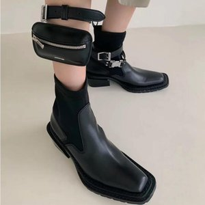 Mini Bag Mobile Shoes Woman Square Toe Boots Woman Buckle Botas Mujer Platform Zapatos De Mujer Ins Stretch Short Combat Boots