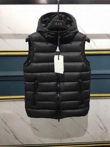 Осень и зима Mens конструктора куртки высокого качества с капюшоном Тонкий Белый гусь вниз жилет Теплый Повседневный вниз жилет Размер S-2XL