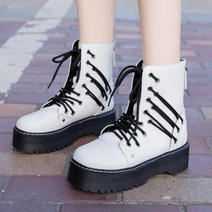 Women Motorcycle Boots Personality Designer 2020 White Punk Thick Bottom Outdoor Woman Shoes Comfortable Soft Ladies Boots A1-17
