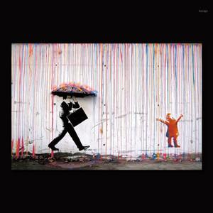 Colore Rain Banksy Wall Decor Art Canvas Pittura Calligrafia Poster Stampa Immagine Decorativa Soggiorno Della Casa Decor1