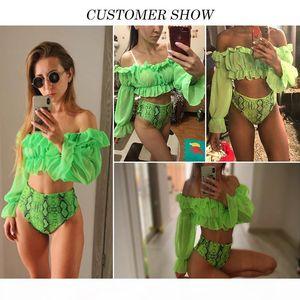In-X Sexy neon green bikini set Mesh long sleeve swimsuit female High waist bikini 2020 Snake print swimwear Bathing suit women