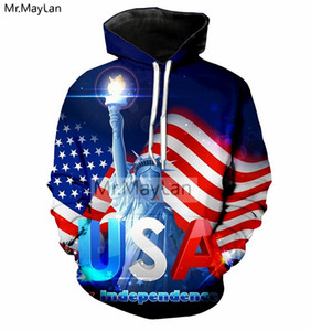Hipster 3D Print American Flag USA Statue of Liberty Jacket Men women Fashion Pullovers Hoodies Boys Streetwear Clothes Big Size