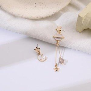 STAND S925 Japonais et coréen Belles étoiles asymétriques géométriques Moon longues boucles d'oreilles glands, boucles d'oreilles élégantes pour femmes