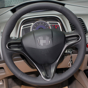 DIY Hand-stitched Black Leather Steering Wheel Cover for Honda Civic Old Civic 2004-2011