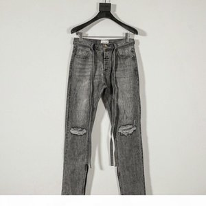 19SS Fear Of God 6th FOG Hole zipper Jeans Fashion Street Skateboard Casual Denim Trousers Sport Fitness Hip Hop Track Pants Sweatpants