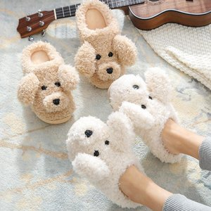 Fur Dog Slippers New 2020 High Quality Cute Cartoon Animal Women Winter Warm Plush Home Fluffy Slides Cotton House Shoes