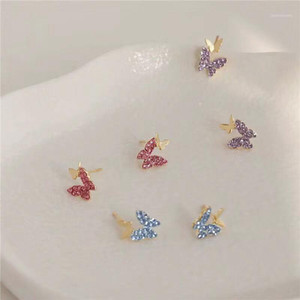Japanese&Korea Fashion Jewelry Crystal Butterfly Stud Earrings for Women Gift Elegant Cute Small Earrings1