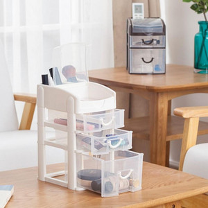 Plastic Makeup Organizer Cosmetic Organizer Drawer Storage Box Sundries Makeup storage Chest Bathroom Desktop Jewelry Box Q0120