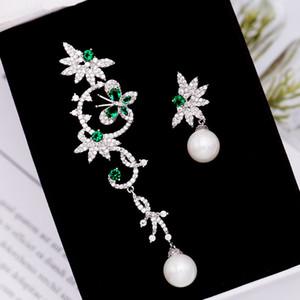 Marca coreana de lujo Dulce Zircon Pearl Flower Butterfly S925 Plata Abrigos Pendientes Joyería Moda Mujeres Brillante Zircón Pendientes Asimétricos