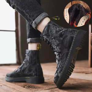 Winter Boots For Men Genuine Leather Boots Man Canvas Shoes Trend British Style Male Army Desert Warm Boots Dr Fashion Martens 201127