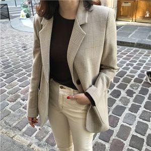 Vintage Women Plaid Blazer Coat Houndstooth Pattern Single-breasted Female Suit Jackets 2019 Autumn Loose Blaser Outwear Femme