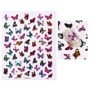 Fashion Gradient Nail Sticker 3d Laser Multi Design Butterfly Type Womens Manicure Nails Decals Ladys Salon Party Decoration 1 3cd L2