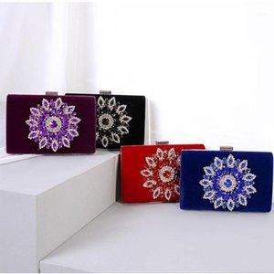 Luxury Sumflower Velvet 4 Colors Big Rhinestone Women Wedding Clutch Bag Fashion Crystal Lady Shoulder Handbags Crossbody Purse1