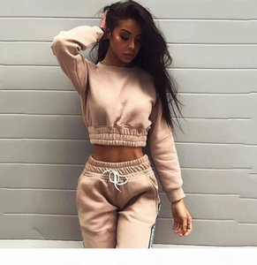 2019 Spring&Autumn Women Tracksuits Fashionable hoodie Long sleeve Casual sport two-piece suit Crop Hoodie Top +Pants Comfortable