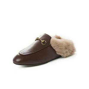 Mules Princetown Women Fur Slippers Mules with fur Flats Genuine Leather Designer Fashion Metal Chain Ladies Casual shoes b9