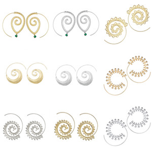 Foreign Trade Exaggerated Vortex Gear Earrings Personalized Circle Spiral Ear Jewelry Wholesale Gold and Silver