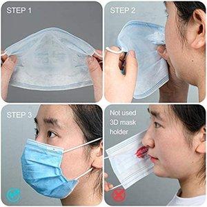 İç Maske Şeffaf Burun Parantez Destek Yüz Maskeleri Pad PP Parantez Ruj 3D Çerçeve Maskeler Koruma Maske 5pcs / AHE2461 paketi