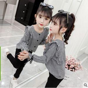 Girls Sleeve Ribbon Shirt 2020 New Spring Autumn Kids Coat Children's Cute Fashion Leisure Shirt 2 Plaid Colors Size4-14 ly127