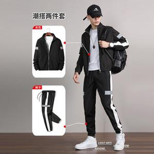 2020 sports suit men's autumn wear reflective strip suit workwear sweater online celebrity men's clothing set