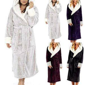 Frauen-Winter-warme Nachtwäsche Damen-mit Kapuze Morgenmantel weichen warme Fleece Mädchen weibliche Robe Nachtwäsche Morgenmantel