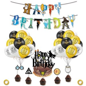 Set Magical Party Decorations Supplies Kits Halloween Wizard Glasses Birthday Banner Balloons Cake Toppers