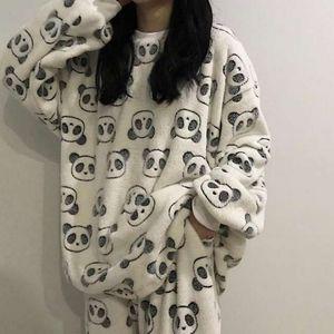 Warm Flannel Women Pyjamas Sets Autumn Winter Thick Velvet Long Sleeve Cartoon Home Suit Female Flannel Pajamas Set Sleepwear Y1229