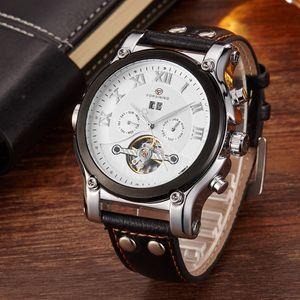 Gorben Auto de viento mecánico automático del reloj para hombre Relojes de lujo del reloj esqueleto masculino ocasional reloj del negocio