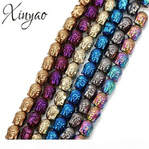 wholesale 1Pcs lot Colorful Hematite Buddha Head Loose Spacer Beads 8*10mm Black Strand Beads For Diy Bracelet Jewelry Making F7952