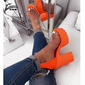 transparent platform sandals high heels sandals women plush size summer gladiator women high heel thick1