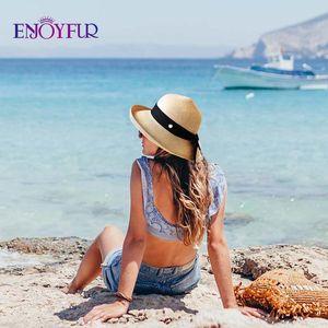 ENJOYFUR womens summer sun hats wide brim straw beach hat girls fashion foldable UPF Sun protection hats chapeau femme 201015