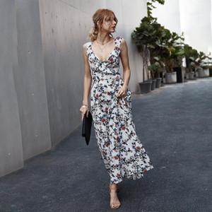 Summer Ruffles Floral Print Dress 2021 Women Deep V-nack Backless Boho Dress Sexy Side Split Party Maxi Sundress Vestidos