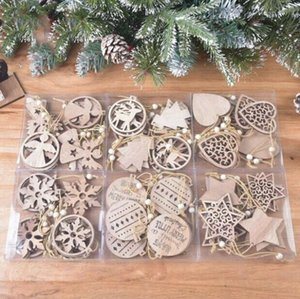 Navidad de madera exquisita decoración de Navidad del copo de nieve colgante láser de madera tallado hueco pequeño colgante del árbol de Navidad del ornamento OWA1857