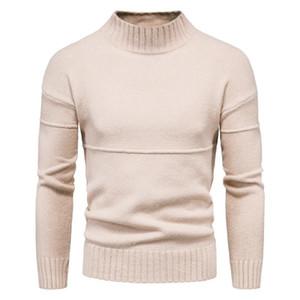 Mens Slim Fit camisola de gola alta Casual Cashmere malha pulôver camisolas homens de cor sólida Business casual Malhas Roupas Masculinas
