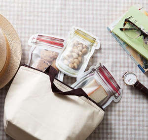 500 unids de almacenamiento de alimentos reutilizables bolsas de cremallera Mason Jar forma Snacks Sello hermético Selección de alimentos Saver Bolsas a prueba de fugas ORGA WMTPCB XHHAIR