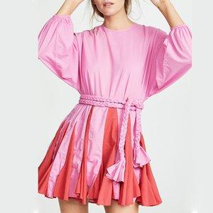 Galcaur Beach Style Vestido para mujer O cuello de manga larga Cintura alta vendaje Patchwork Mini vestidos femeninos 2020 Casual Fashion New LJ201202