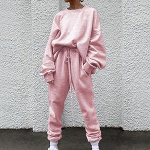 2020 Autumn Tracksuit Two piece set Womens Hoodies High Waist Jogger Harem Pants Pink Loose 2 pieces Putfits For Women1