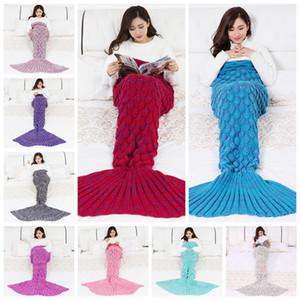 Sirène Fishtail Couverture chaude en tricot crochet Couvertures adultes Sofa Étude Salon de pique-nique Mermaid Voyage Sac de couchage 10styles RRA3801