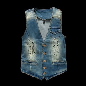VXO MEN DENIM VEST Vintage Design Men's Denim Vest Male Fashion Sleeveless Jackets Man Jeans Brand Clothing Men Waistcoat