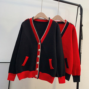Rote Strickjacke Jacke Frauen in Südkorea 2020 Herbst und Winter neuen Stil ausländische lose äußere Abnutzung faul gestrickt Q1115