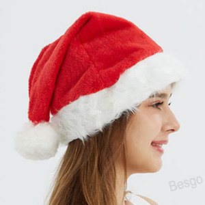 Xmas Cap Adult Red Santa Claus Hat Christmas Ornaments Santa Claus Plush Cap Polyester Hat Wedding Party Christmas Decoration BH4328 WXM