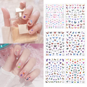 DIY Nail Stickers Colourful Butterfly Adhesive Transfer Beautiful Decals 3D Nail Accessories Art Decoration Design For Nails
