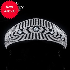 Himstory Queen Princess Bridal Crown Tiaras Shiny Copper Cubic Zircon Wedding Anniversary Party Headband Hair Jewelry