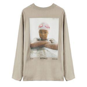 FEEAR OFF GOOD 6th Retro Portrait Printing Long Sleeve Tee High Street Fashion Shirts Couples Women Mens Light Tan 4 Style T-shirt HFXHTX340