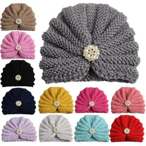 12pcs Nuovo Arrivo Bambini India Cappello Vintage Perle Rhinestone Turban Cap Kids Beanie Cappelli Cappelli Cappelli Dome Cappelli per ragazze