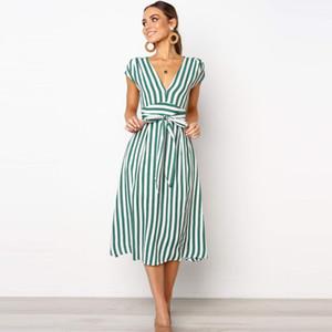 Lossky Summer Women Stripe Long Dress Sexy Deep V-neck Elegant Ladies Dresses 2020 Womens Clothing Midi Dress For Women Casual X1224