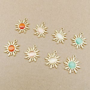 New Design Soild Rhinestone Sun Charms Pink Red White Green Fit Necklace Bracelet Earring Jewelry DIY 18x21mm