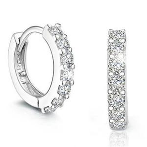 Brilhando rodada zircão Hoop brincos moda jóias para mulheres do aniversário de casamento presente S-E14