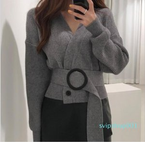 Women's Fashion Sweater Double-breasted V-neck Belted Short Knit Cardigan Jacket free shipping
